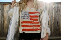 PacSun x Whitley Kross American Flag oversized tee styled by Amber Saylor from Cannibal's Find.