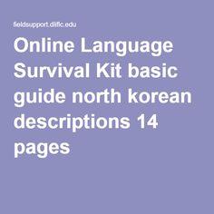 Online Language Survival Kit basic guide north korean descriptions 14 pages