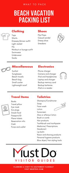 Beach Vacation Packing List Use this handy list to take the stress out of vacation packing and hit the beach worry free! Disneyworld Packing List, Ski Trip Packing List, Travel Packing Checklist, Honeymoon Packing, Beach Vacation Packing List, Packing For A Cruise, Florida Vacation, Florida Beaches, Beach Holiday Packing List