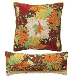 Autumn Leaves Hooked Wool Pillows add a seasonal touch with rich colors and a detailed fall leaves design.