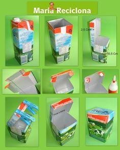 Discover thousands of images about ** Maria Reciclona **: Reciclagem Embalagem tetrapak (Diy Decoracion Cajas) Tetra Pak, Diy Storage Boxes, Craft Storage, Diy Home Crafts, Creative Crafts, Cardboard Box Crafts, Paper Crafts, Recycler Diy, Milk Carton Crafts
