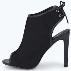 Boohoo Freya Open Back Peep Toe Suedette Shoe Boot ($28) ❤ liked on Polyvore featuring shoes, boots, ankle booties, black, wedge booties, platform wedge booties, black wedge boots, peep toe booties and black high heel boots