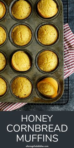 Honey Cornbread Muffins from afarmgirlsdabbles. - These muffins are slightly sweet, with a moist cake-like crumb from buttermilk and butter. This is our family's favorite cornbread muffin recipe! Sweet Cornbread Muffins, Best Cornbread Recipe, Cornbread Cake, Moist Cornbread, Buttermilk Cornbread, Homemade Cornbread, Corn Muffins, Cinnamon Muffins, Cinnamon Bread