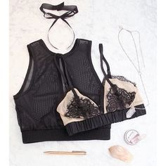 deep v sheer cami in black, luxe eyelash bralette in black/nude, and the perfect tie choker