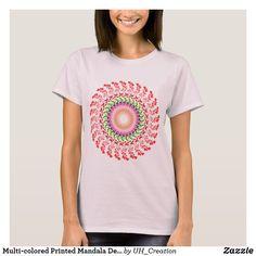 Multi-colored Printed Mandala Design T-Shirt