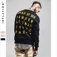 Men Autumn Hoodies Black O-Neck With Letters Barnd Clothing Male Hip Top Boys Sweatshirts Loose Fashion Streetwear A2647