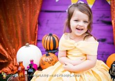 Stunning DIY Toddler Disney Halloween costume: The Yellow Belle Disney Halloween Costumes, Halloween Costume Contest, Homemade Costumes, Diy Costumes, Disney With A Toddler, Yellow Gown, Daddy Gifts, Flower Girl Dresses, Wedding Dresses