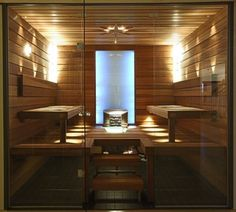 Sauna - WeLike the clean sharp lines of this sauna Japanese Bathroom, Spanish Modern, Insulation Materials, Construction Services, Steam Room, Home Spa, Tiny House, Modern Design, Relax