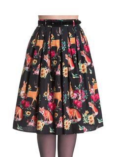 Flora and Fauna Flared Knee Skirt at PLASTICLAND