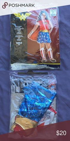 TODDLER WONDER WOMAN COSTUME SIZE 3-4 Worn once. Still in original package.  Selling this for my client. (I'm also selling a majority of my closet- clothes, shoes, bags and accessories. Check out all of my other posts.) Costumes Superhero