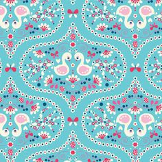 Plume in Blue #fabric designed by Melly & Me for the Riley Blake Flutterberry collection. #peacock #aqua
