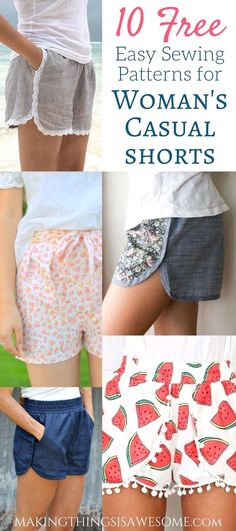 10 Free Woman's Casual Shorts Sewing Patterns: Round-up! - Making Things is Awesome # sewing projects clothes women 10 Free Woman's Casual Shorts Sewing Patterns: Round-up! - Making Things is Awesome Easy Sewing Projects, Sewing Projects For Beginners, Sewing Tutorials, Sewing Tips, Sewing Hacks, Sewing Ideas, Sewing Crafts, Simple Projects, Diy Crafts