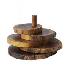 """Approximately 5"""" Round Madre De Cacao Wood Coasters w/ Stand, Set of 5 (Each One Will Vary)"""