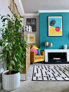 Teal Living Rooms, Simple Living Room Decor, Colourful Living Room, Bright Rooms, Living Room Colors, My Living Room, Interior Design Living Room, Living Room Designs, Relaxation Room