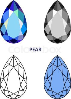 17896125-low-poly-colored-black-outline-template-pear-gem-cut.jpg (576×800)