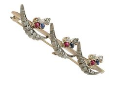 0.52 ct Diamond, 0.24 ct Ruby and Sapphire, 9 ct Yellow Gold Bar Brooch - Antique Victorian
