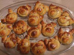 Szilveszteri malackák Ring Cake, International Recipes, Pretzel Bites, New Years Eve, Scones, My Recipes, Baked Potato, Goodies, Birthday Parties