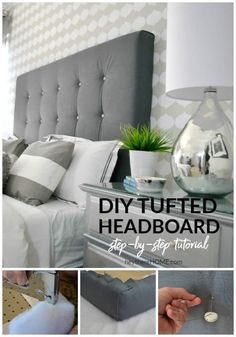 DIY headboard with crystal buttons - Design by King tufted headboard with crystal buttons in 4 stepsHow do I create a fabric headboard on a budget? Home ideasLearn how to incorporate a fabric headboard Diy Tufted Headboard, How To Make Headboard, Headboard Designs, Diy Headboards, Tufting Diy, Headboard Ideas, Headboard Frame, Making A Headboard, Bed Frame