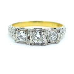 Art Deco diamond Trilogy engagement ring 1920's £395.00 by vintagejewelbox