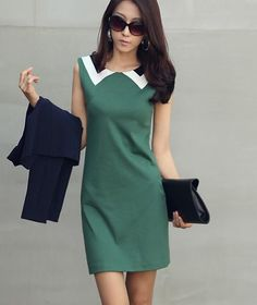 Green Black and White Collar Classic Simple Style Asian Stylish Dress 1 00a8f020a9b0