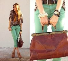These jade chinos are revamped with this silk leopard blouse
