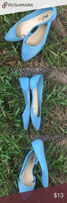 Blue flats Beautiful sky blue pointed toe flat with a pretty detail on the toes and an open inside on the shoe Rue 21 Shoes