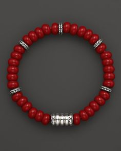 John Hardy Men's Sterling Silver Bedeg Beaded Bracelet with Reconstructed Coral