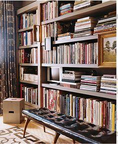 bench in front of bookcases