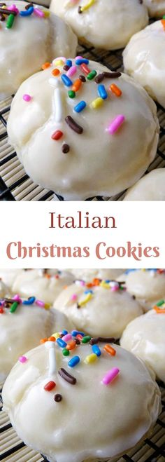 Italian Christmas Cookies - soft cookie balls drenched in an almond glaze and sprinkled with colored jimmies! Big batch recipe perfect for holiday cookie trays and gift giving!