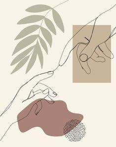 Reaching Hands Artwork, Creation of Adam, Continous Line