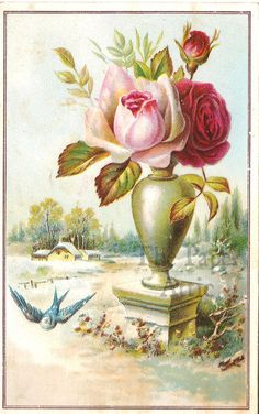 Blue Bird & Roses in Vase Snow Scene Antique French Chromo Card
