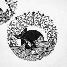 Mandala beach sunet sun whale life tattoo vacation moon sea lover dot work