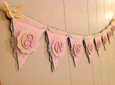 Girl Baby Shower Banner, Butterfly Baby Shower, Birthday Banner, Girl Name Banner, Custom Banner - Made to Order