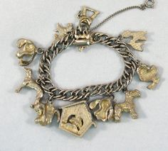 Vintage 1950s Gone To The Dogs Charm Bracelet