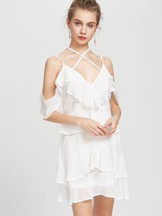 Shop Strappy Ruffle Tiered Open Back Dress online. SheIn offers Strappy Ruffle Tiered Open Back Dress & more to fit your fashionable needs.