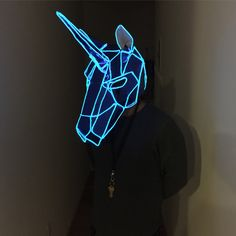 Wintercroft x WhoCaresWhyNot. Light up mask. El wire. Unicorn