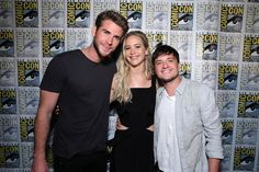 Liam Hemsworth, Josh Hutcherson and Jennifer Lawrence a.k.a. Gale, Katniss and Peeta at #MockingjaySDCC.