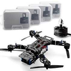 RC-Modellbau Hubschrauber Blau Nightawk 250 Quadcopter Carbon Combo + MT2204 Motor + 12A ESC + Prop &CC3D