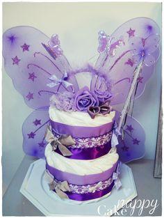 Gateau de couches 2 étages violet Fée ailes diademe Princesse diapercake#gateaudecouches