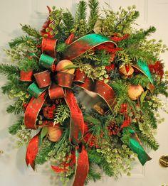 7) Exquisite Red & Green Door Christmas Wreaths