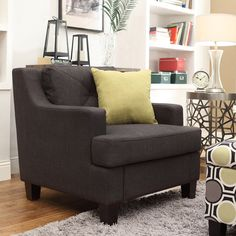Inspire Q Upholstered Chair - Dark Gray   from hayneedle.com