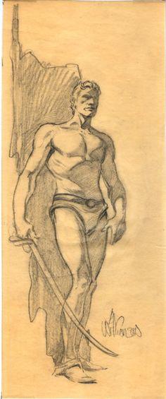 Al Williamson drawing Comic Art
