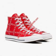 d425c48d734 Converse Shoes x JW Anderson Chuck 70 Grid Canvas High Top Red