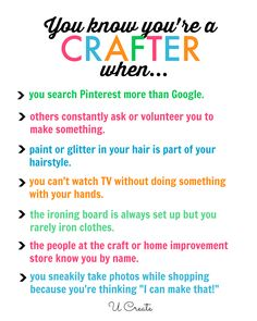 OMG - that is totally ME! In fact I usually think, 'I could do that better'. Are you crafty? Me Quotes, Funny Quotes, Funny Pics, Hilarious, Sewing Humor, Quilting Quotes, Sewing Quotes, Scrapbook Quotes, Scrapbook Rooms