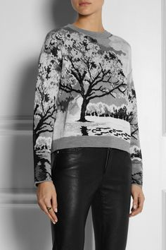 Landscape-intarsia knitted sweater
