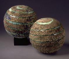 Set of 2 Ceramic Textured Planet Large Spheres, Twin Sister Pleiades Constellation by Marietta Theodorou-LeMieux | BlueRoomPottery... plus (+)