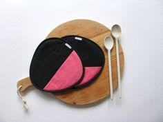 hot pad set - rose coral and black trivets - potholders - modern kitchen potholders - housewarming gift
