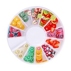 [Visit to Buy] Acrylic DIY 200Pcs Nail Art Decorations Fruit Slices 3D Polymer Clay Tiny Fimo Wheel Nail Art Rhinestones Decoration Manicure #Advertisement