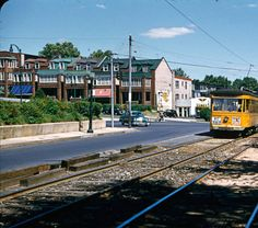 Baltimore Transit car number 6119 outbound, Liberty Heights Avenue at Reisterstown Road, Baltimore :: Baltimore Transit Co. and Potomac Edison Slides - Edward S. Miller