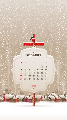2016 Calendar, December, Iphone Wallpapers, Winter, Prints, Backgrounds, Cases, Xmas, Winter Time